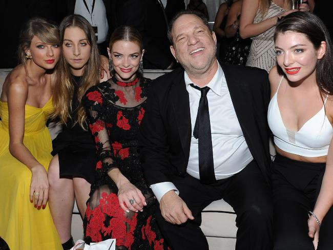 Photo: Harvey Weinstein with Taylor Swift, Este Haim, Jaime King and Lorde at the Golden Globes. (News.com.au)